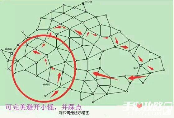 江湖X手游蓝疆沙漠地图刷沙蝎走法攻略1