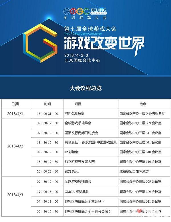 GMGC北京2018倒计时10天:第七届全球游戏大会议程公布1
