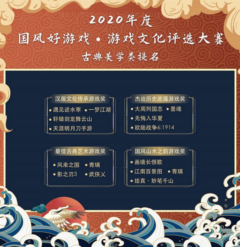 """2020""""国风好游戏""""游戏文化评选大赛名单出炉,百款优秀文化游戏入围6"""