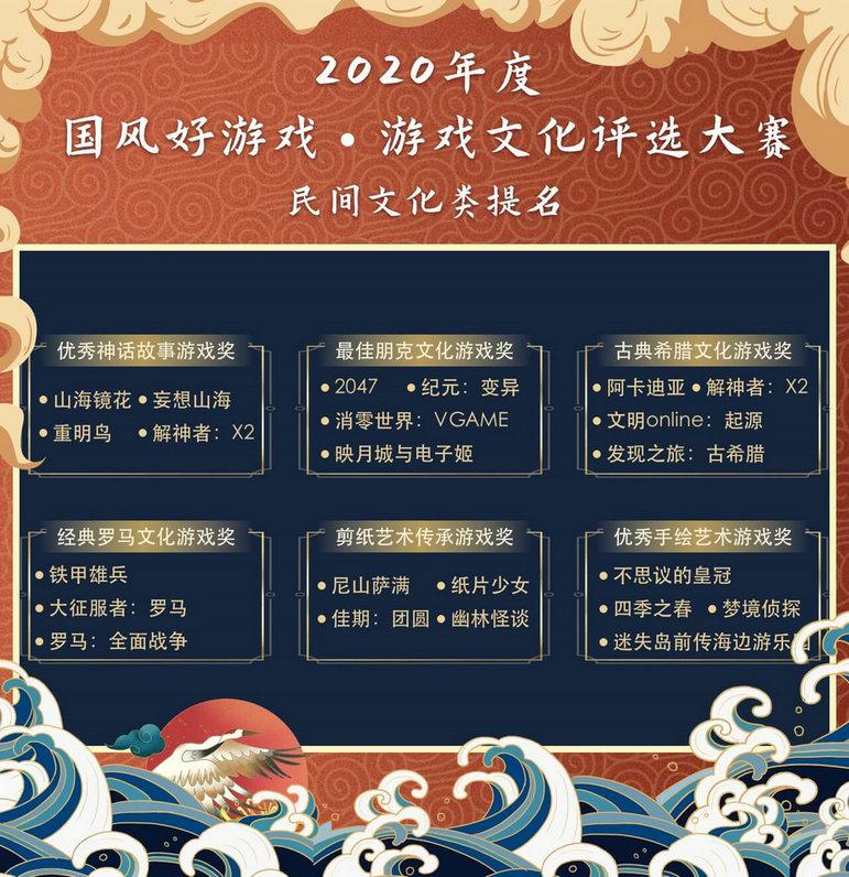 """2020""""国风好游戏""""游戏文化评选大赛名单出炉,百款优秀文化游戏入围5"""