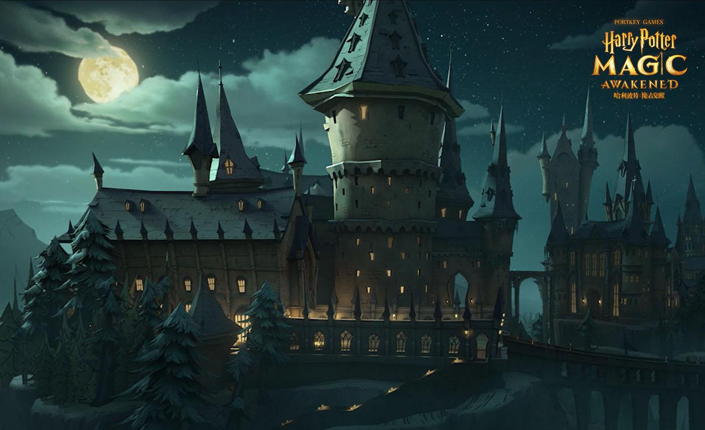 《哈利波特:魔法觉醒》霍格沃茨城堡在夜幕下矗立,神秘魔法空间缓缓开启2
