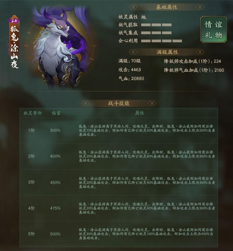 """《神都夜行录》呦呦夜鸣 狐火鬼影 全新SR妖灵""""狐鬼·涂山夜""""全解析4"""