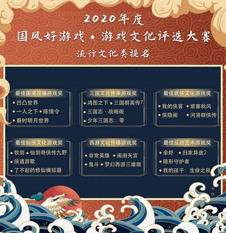 """2020""""国风好游戏""""游戏文化评选大赛名单出炉,百款优秀文化游戏入围4"""